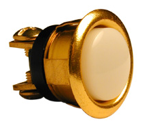 "5⁄8"" Pearl Push Button, Brass, Lighted"